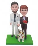 Custom Couple And Dog Bobble Head Doll