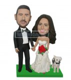 Custom Wedding Bobbleheads Couple Little Dogs