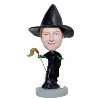 Customized Witch And Bright Broom Bobblehead