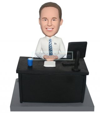 Custom bobble head doll Male At A Office Desk 2