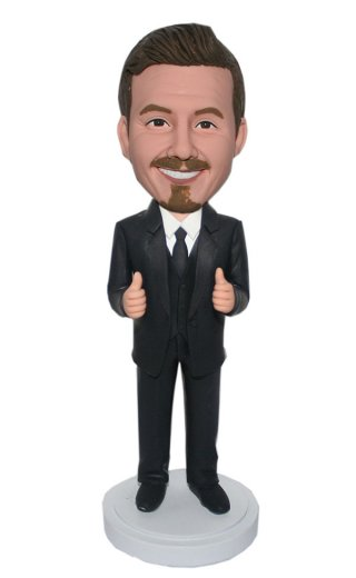 Custom Bobbleheads Businessman In Black Suit With Thumbs Up