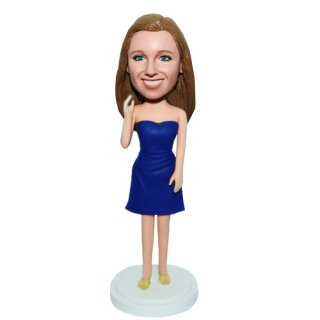 Hand Up Custom Casual female With Dark Blue Dress Bobbleheads