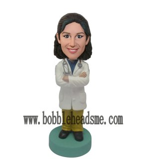 Arms Crossed Doctor Custom Female Bobblehead