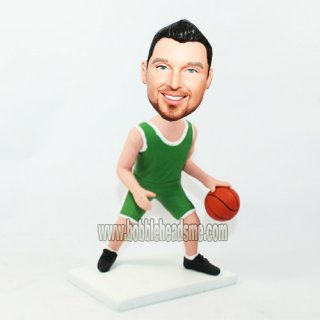 Basketball Player In Green Uniform Dribbing Ball Bobblehead
