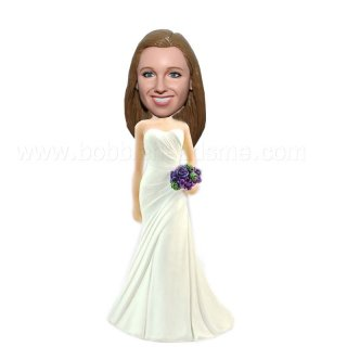 Brides in Ivory Gown with Purpule Bouquet Bobble Doll