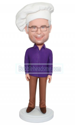 Custom Chef Bobblehead Hands At Sides With A Chef Hat