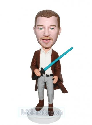 Custom Bobblehead Male Jedi Worrior With A Blue Light Blade
