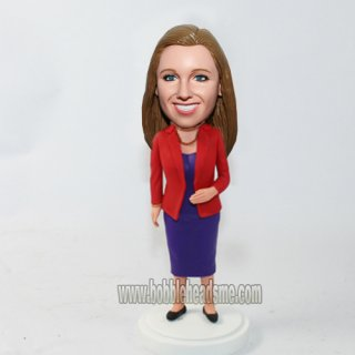 Red Blazer Atop Purple Dress Office Woman Bobblehead Doll