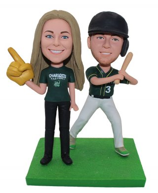 Custom Bobble Head Baseball Couple Doll