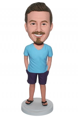 Custom Casual Bobbleheads Male In Blue T-shirt And Purple Short