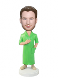 Custom Male Bobblehead In A Bright Green Feminine Nightwear