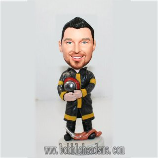Firefighter With Pine And Helmet Custom Male Bobbleheads