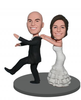 Custom Bobblehead Runaway Groom Cake Toppers
