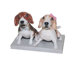 Custom Pet Couple Dog Bobble Heads Doll From Photos