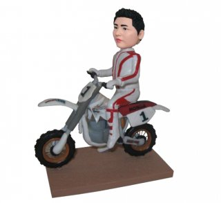 Customized Motor Male Racer In Suit Bobblehead