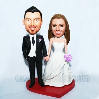 Forever Love Wedding Couple Heart Base Bobblehead