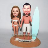 Surfing Couple On The Sand Custom Bobblehead