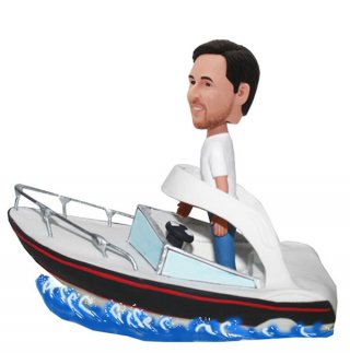 Custom Unique bobble head Male Driving A Speedboat On The Sea