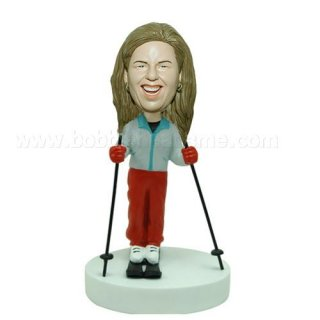 Skiing Woman With Stick Custom Bobblehead