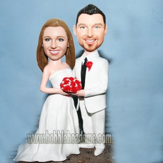 All White Wedding Couple Holding Bouquet Custom Bobble heads