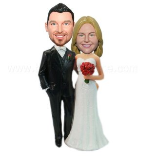 Custom Wedding Couple Arms Around Each Other Bobbleheads