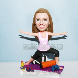 Personalized Yoga Post Woman On The Mat Bobblehead Doll