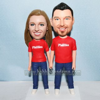 Red And Blue Couple Outfit Custom Double Bobblehead