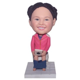 Baby Girl On Toilet With Ipad At Hands Bobble Head Doll