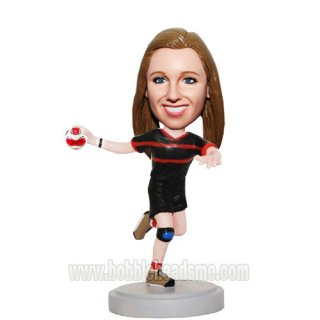 Soccer Female Player In Black With Kneelet Bobblehead