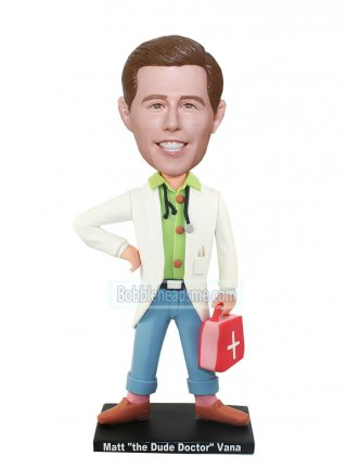 Personalized Doctor Bobbleheads Male With A First-aid Case