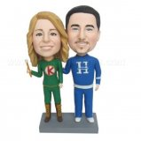 Racer Couple Couple In Green And Blue Custom Bobbleheads