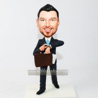 Customized Watch Businessman With Brifecase Bobblehead