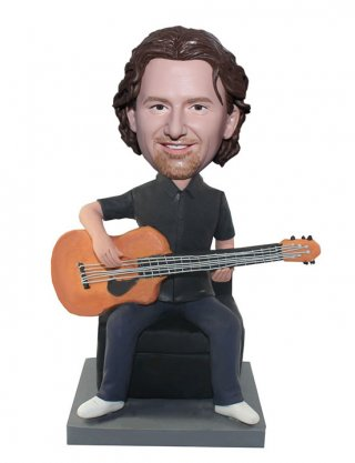 Custom Music Bobbleheads Guitar Player Seated On Chair