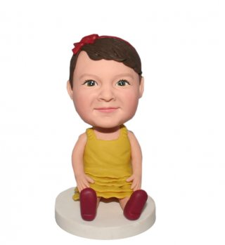 Personalized Girl Bobble head In Yellow Skirt Sit On Floor