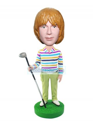Personalized Golfer Bobblehead In Strips T-shirt And Cargo Pants