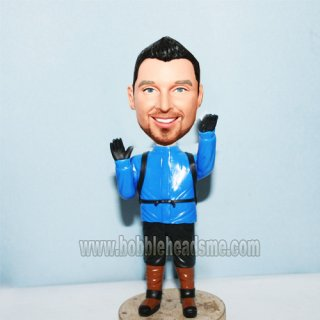 Customized Mountaineer With Bagpack Bobblehead Doll