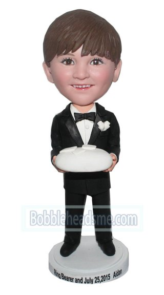 Custom Bobblehead Boy Groomman In Black Suit And Holding Cake