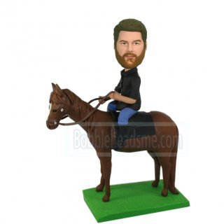 Custom Male Bobblehead Doll Riding On A Horse