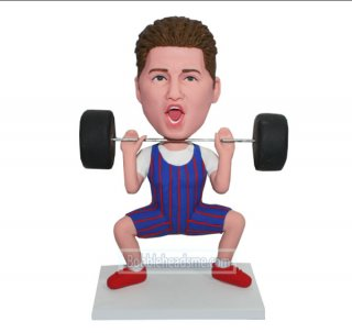 Customized Bobblehead Sport Male In A Weight Lifting Pose
