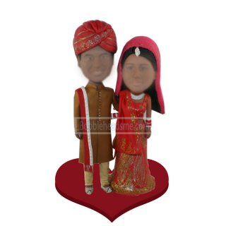 Customized Wedding Couple Bobblehead Doll In Indian Traditional