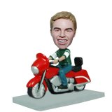 Riding Motorcycle Man Custom Bobblehead Doll