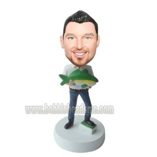 Man In Boots With Big Fish Customized Bobbleheads Doll