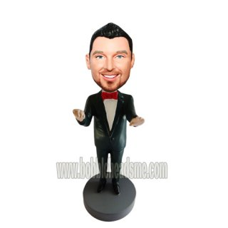 Performamce Musician In Red Bowtie Personalized Bobblehead