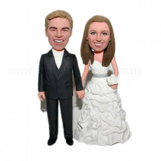 Groom And Bride Hand In Hand Wedding Couple Bobble Head