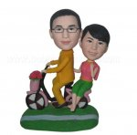 Cycling Couple On Scootor Custom Bobbleheads