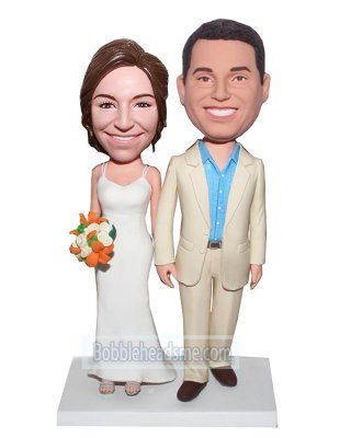 Customized Bobblehead Happy Couple Hand In Hand With Bouquet