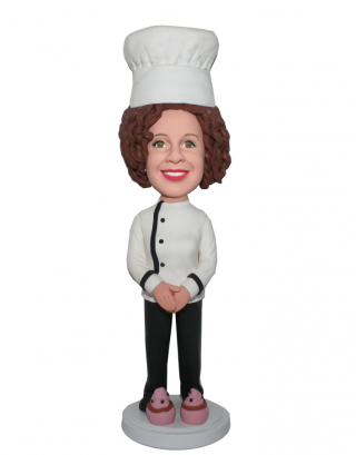 Customized Baker Bobblehead Female In A Traditional Chef Garb