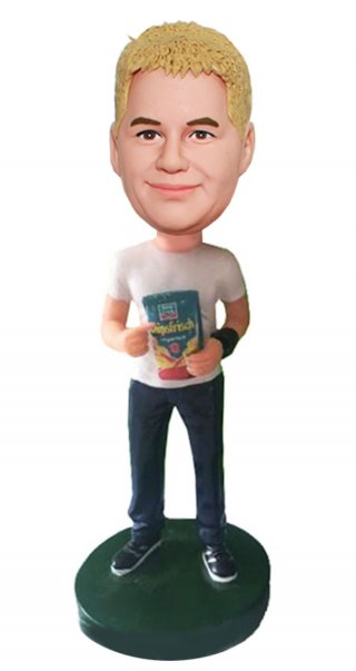 Customized Bobble Heads Holding A Pack Of Snacks Doll