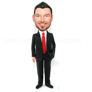 Handsome Groomsmen Open Suit Red Tie Pesonalized Groomsmen Bobbleheads