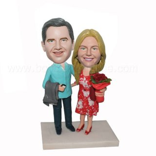 Arms Around Each Other Customized Wedding Bobbleheads